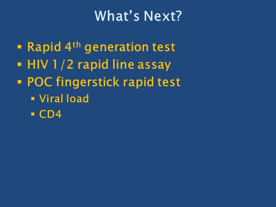 What's Next Rapid 4th generation test HIV 1/2 rapid line assay
