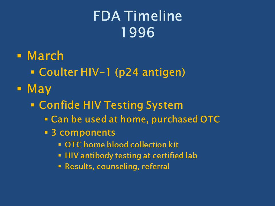 FDA Timeline 1996 March May Coulter HIV-1 (p24 antigen)