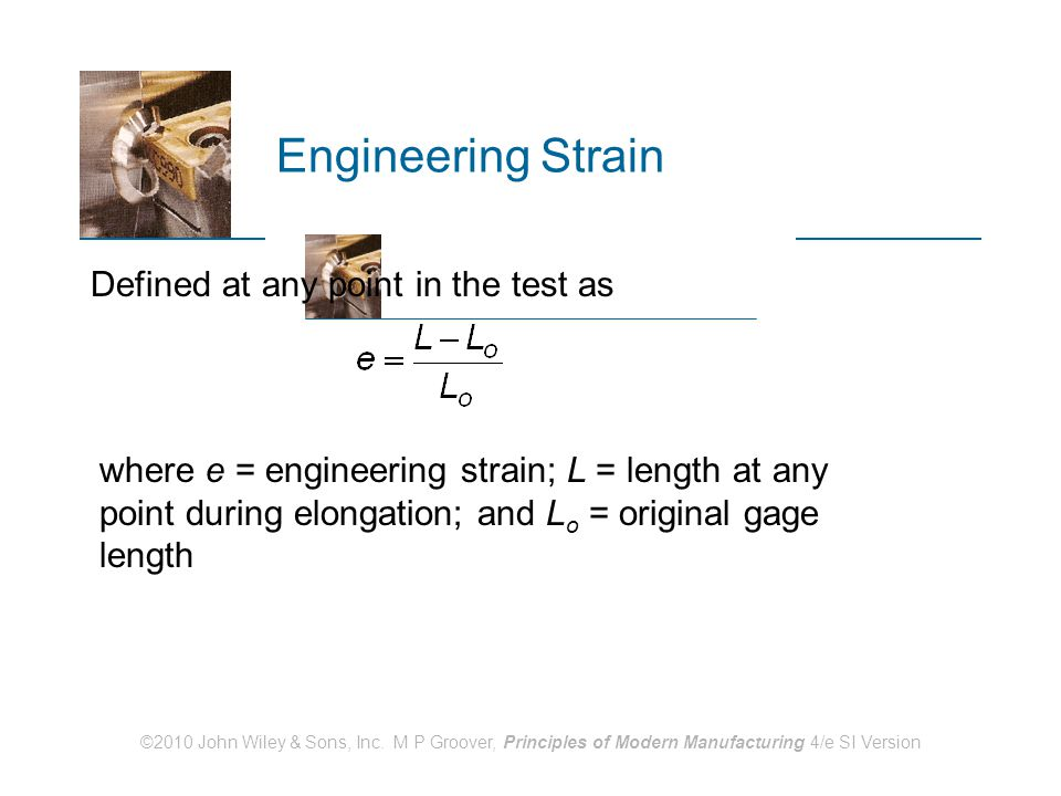 Engineering Strain Defined at any point in the test as