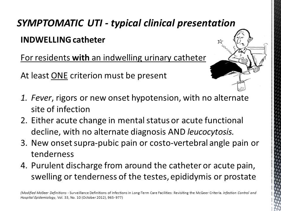 SYMPTOMATIC UTI - typical clinical presentation