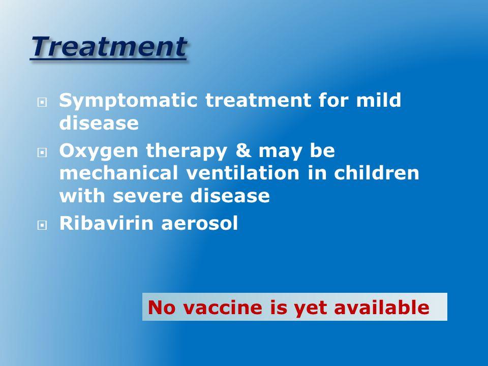 Treatment Symptomatic treatment for mild disease