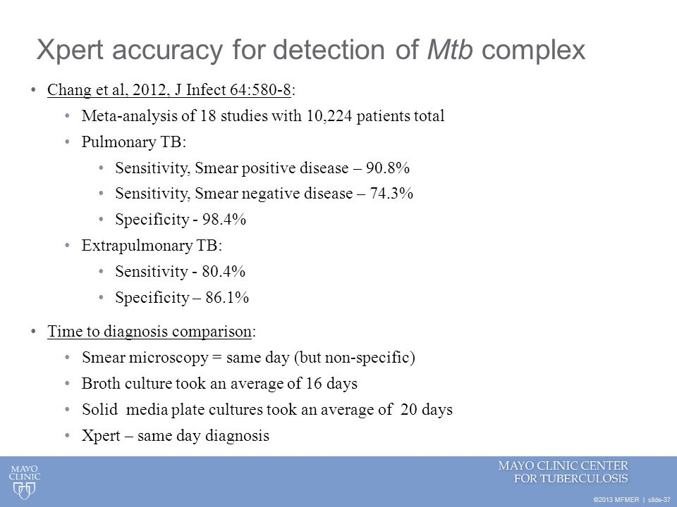 Xpert accuracy for detection of Mtb complex