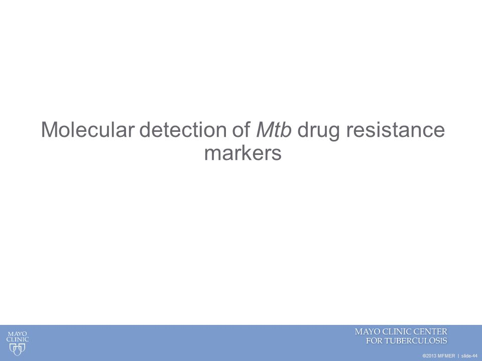 Molecular detection of Mtb drug resistance markers