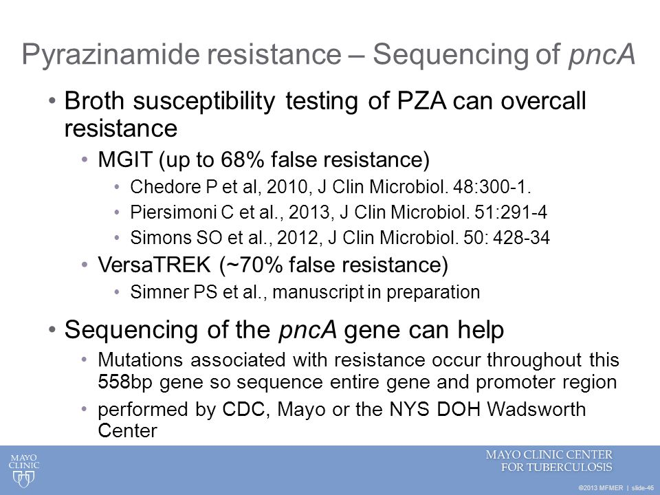 Pyrazinamide resistance – Sequencing of pncA