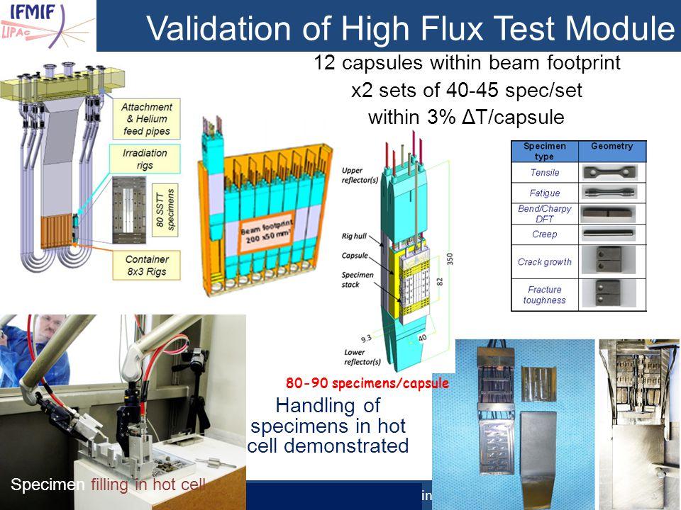 Validation of High Flux Test Module