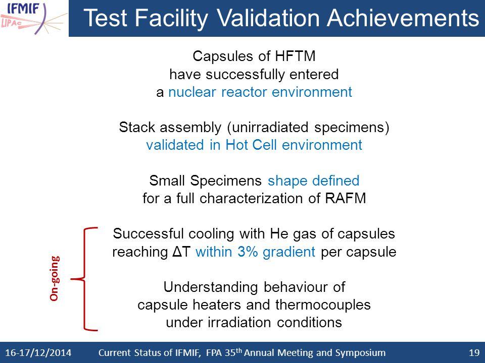 Test Facility Validation Achievements