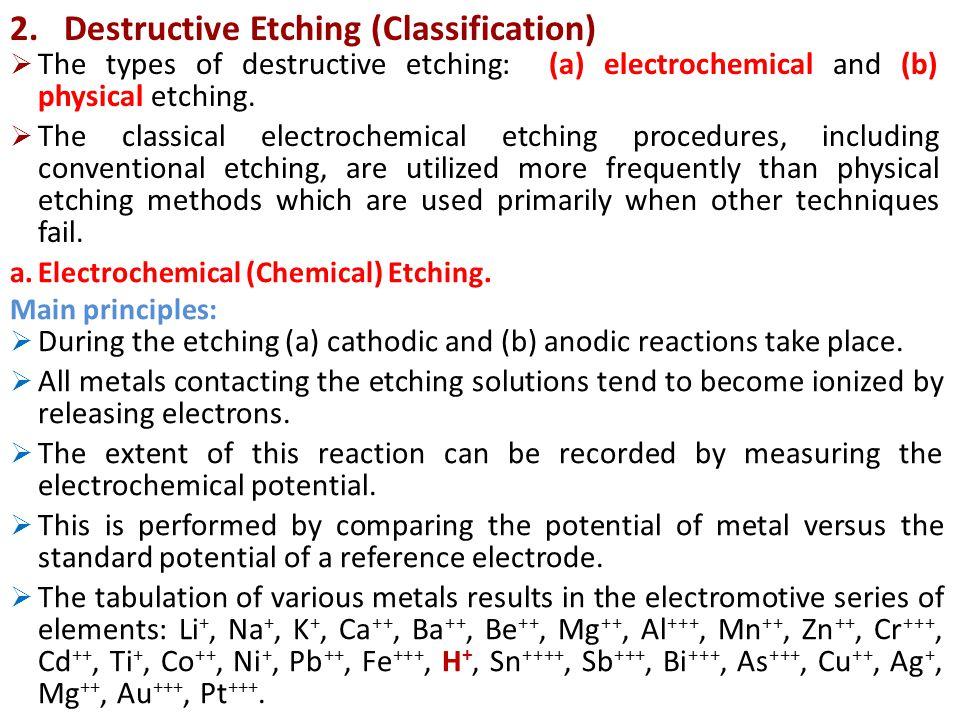 Destructive Etching (Classification)