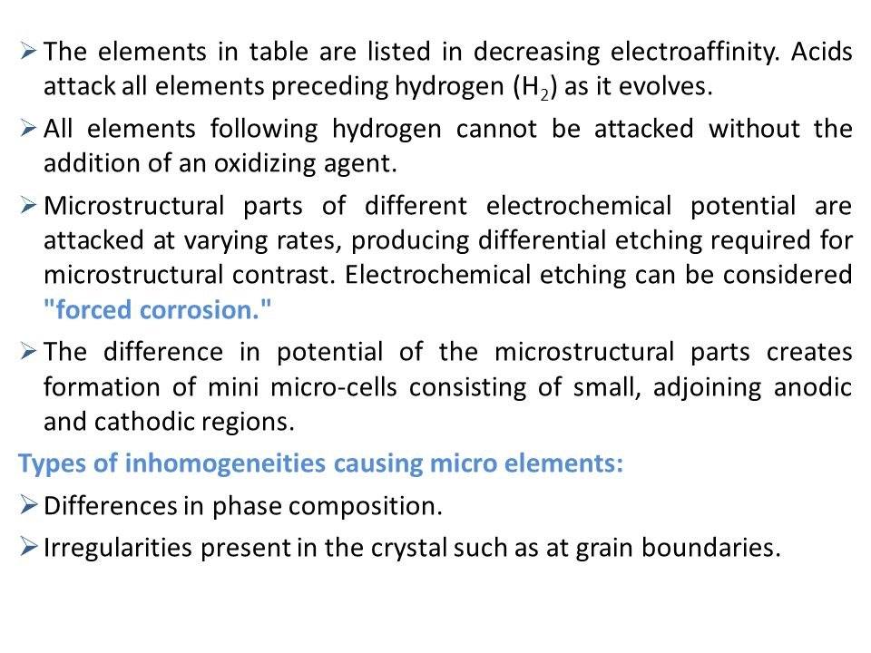 The elements in table are listed in decreasing electroaffinity