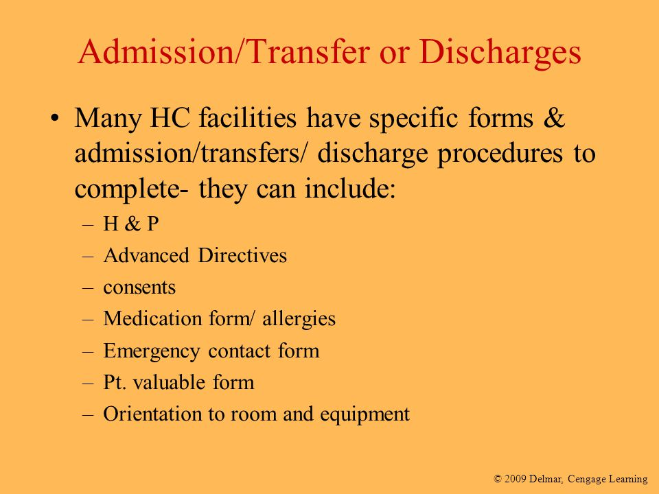 Admission/Transfer or Discharges