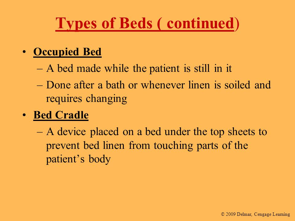 Types of Beds ( continued)