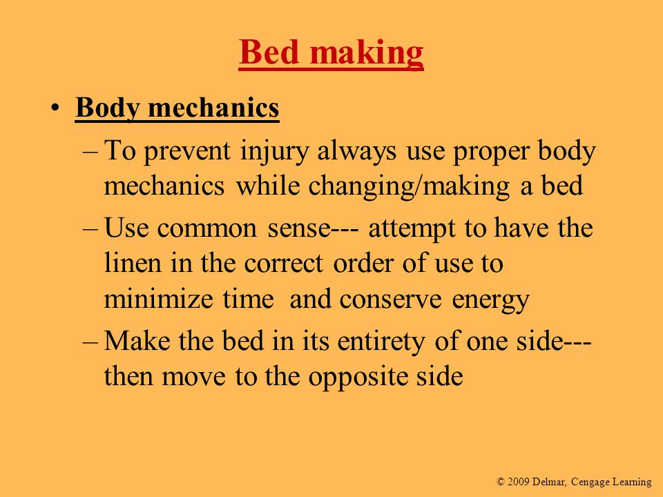 Bed making Body mechanics