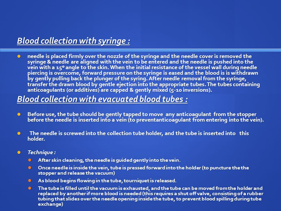 Blood collection with syringe :