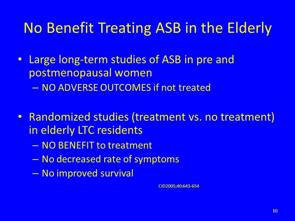 No Benefit Treating ASB in the Elderly