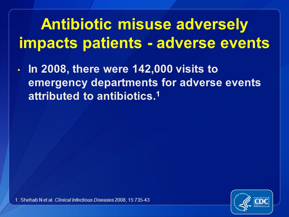 Antibiotic misuse adversely impacts patients - adverse events