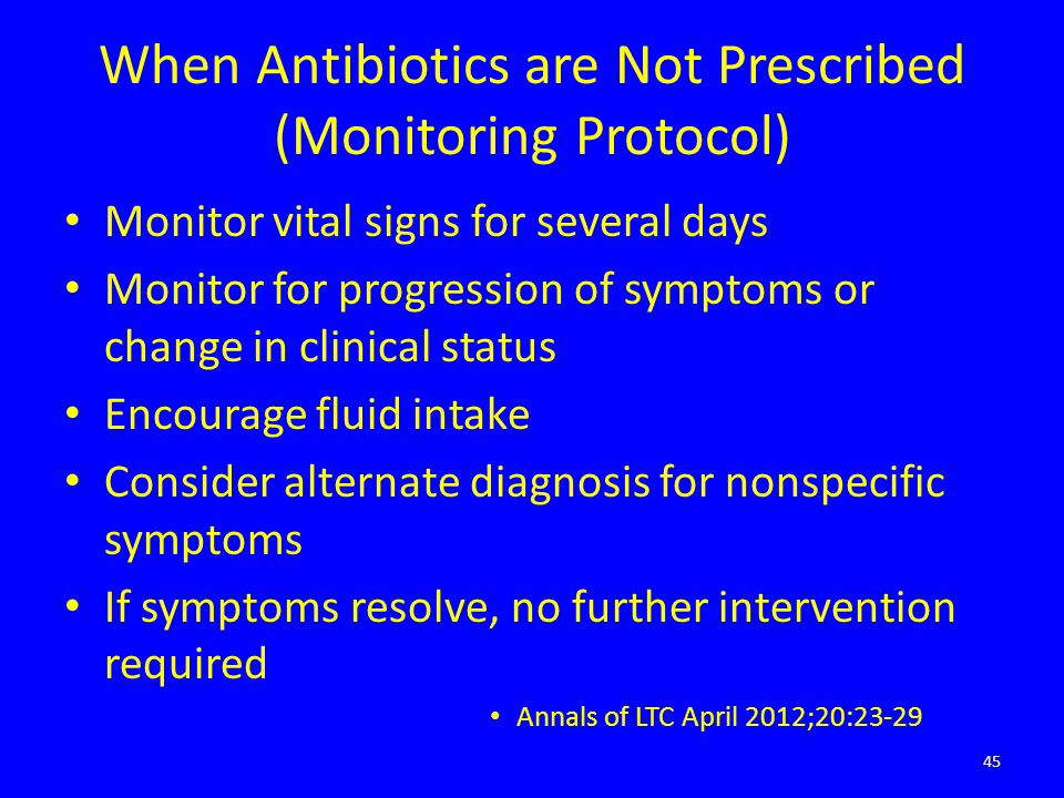 When Antibiotics are Not Prescribed (Monitoring Protocol)