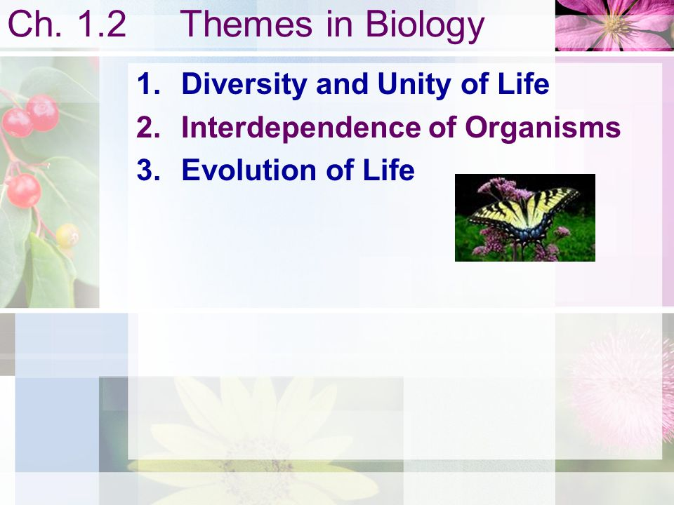 Ch. 1.2 Themes in Biology Diversity and Unity of Life