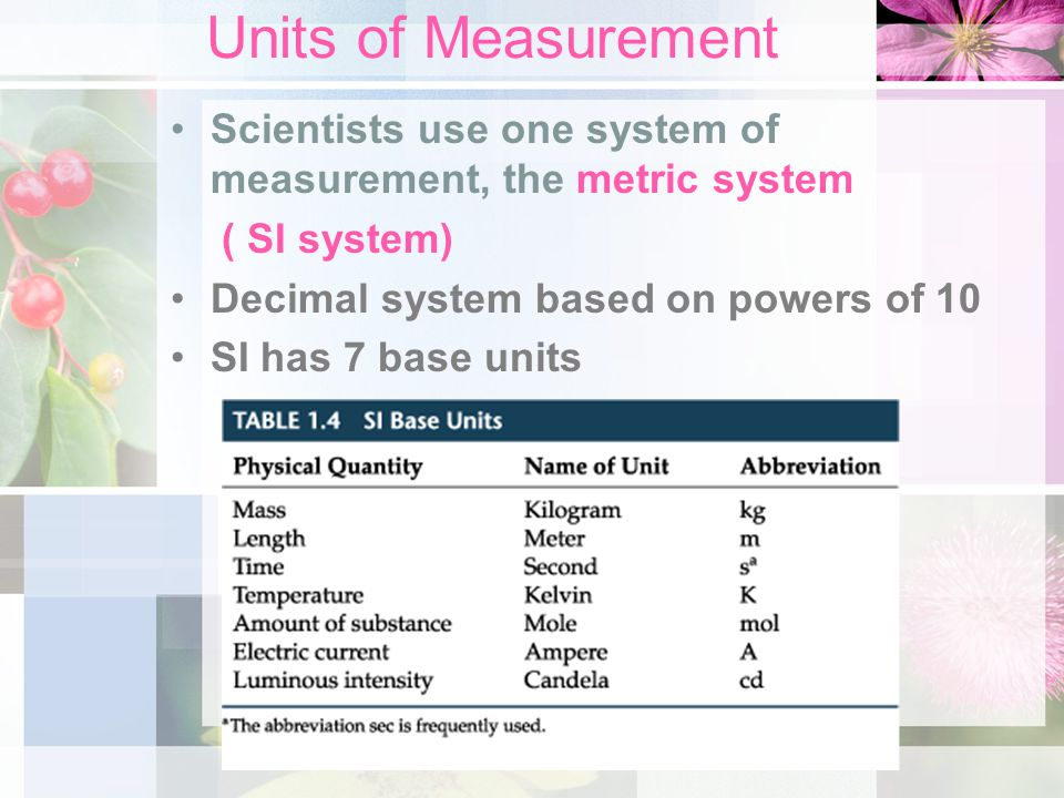Units of Measurement Scientists use one system of measurement, the metric system. ( SI system) Decimal system based on powers of 10.