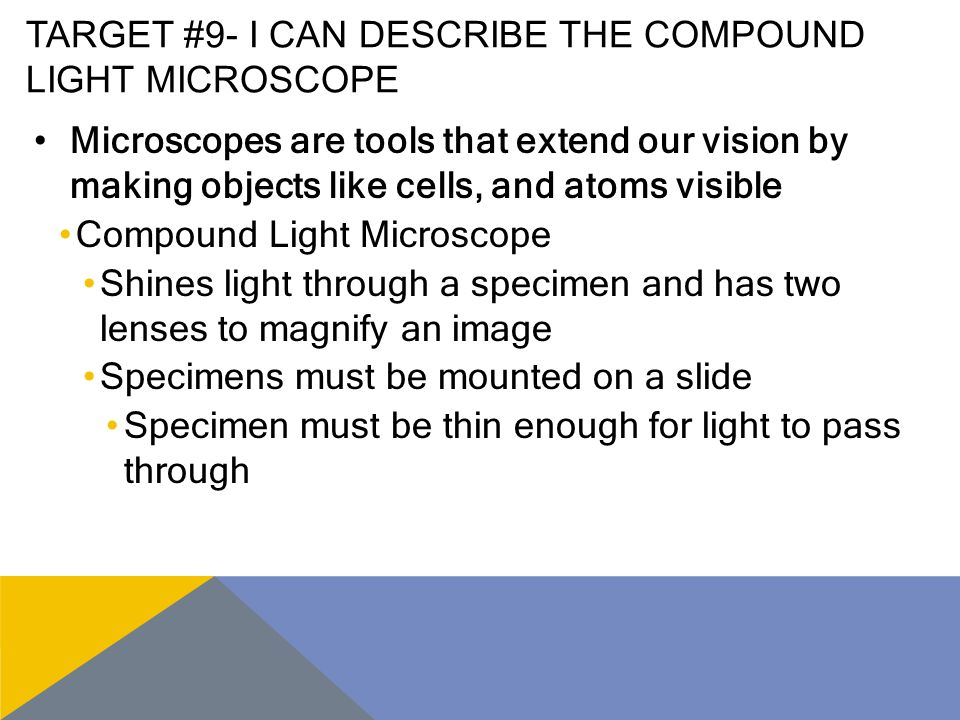 Target #9- I can describe the compound light microscope