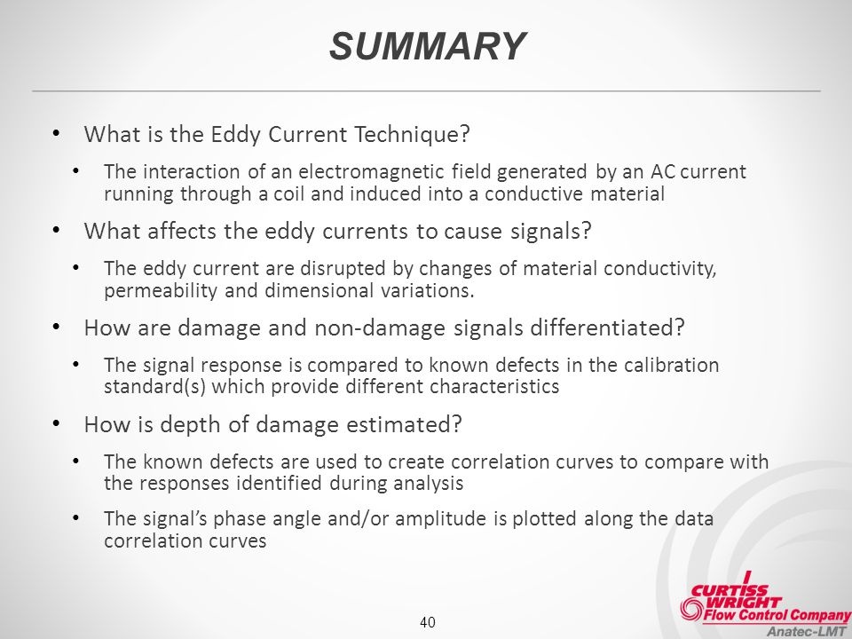 SUMMARY What is the Eddy Current Technique