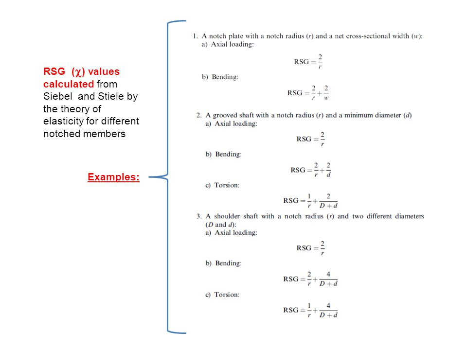 Examples: RSG () values calculated from Siebel and Stiele by the theory of elasticity for different notched members.