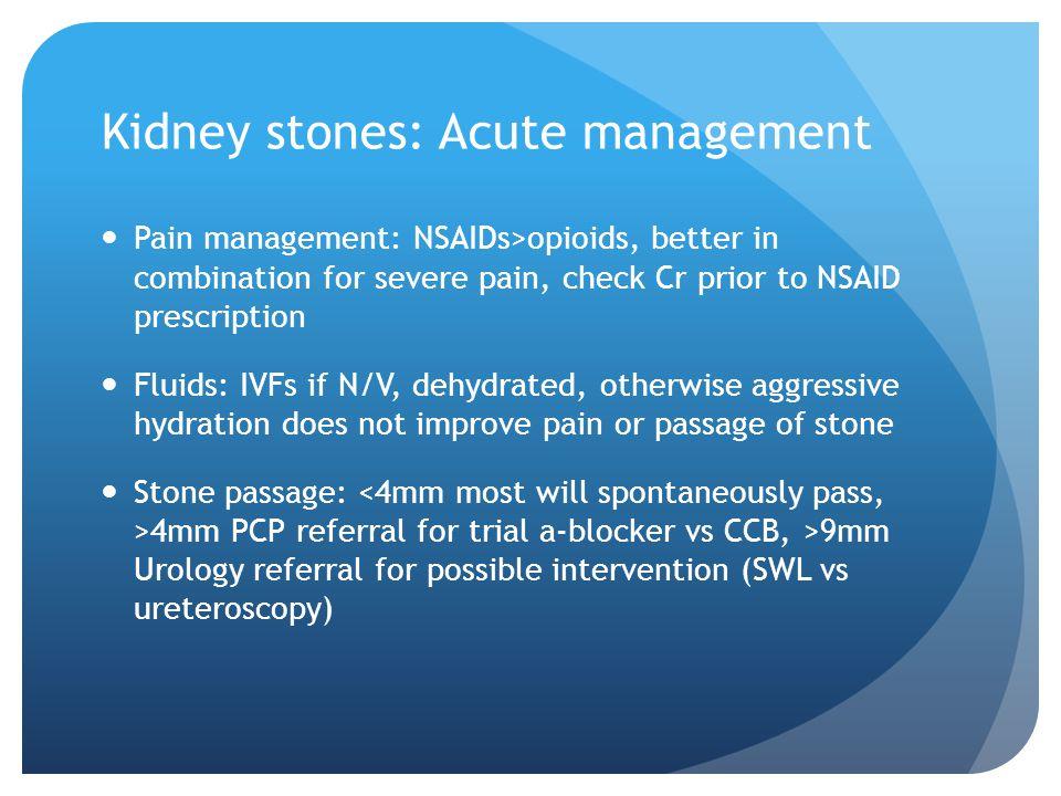 Kidney stones: Acute management