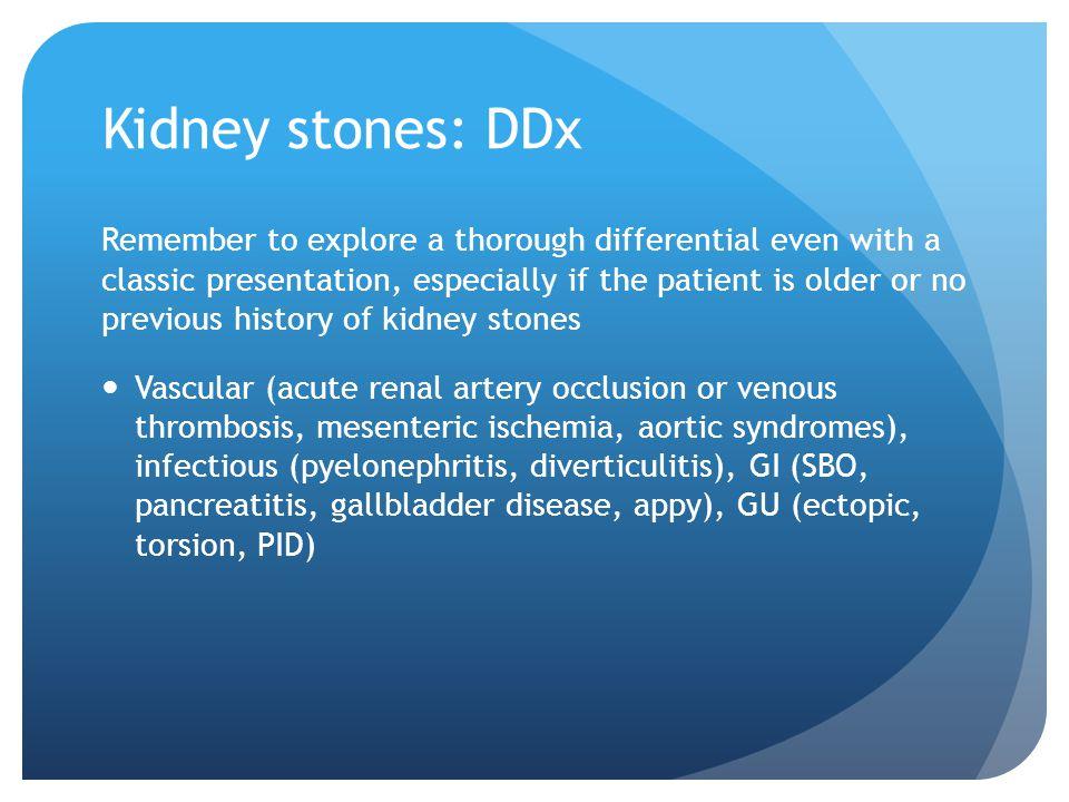 Kidney stones: DDx