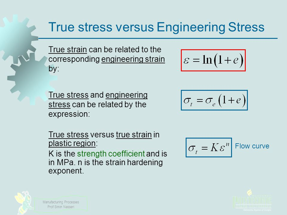 True stress versus Engineering Stress