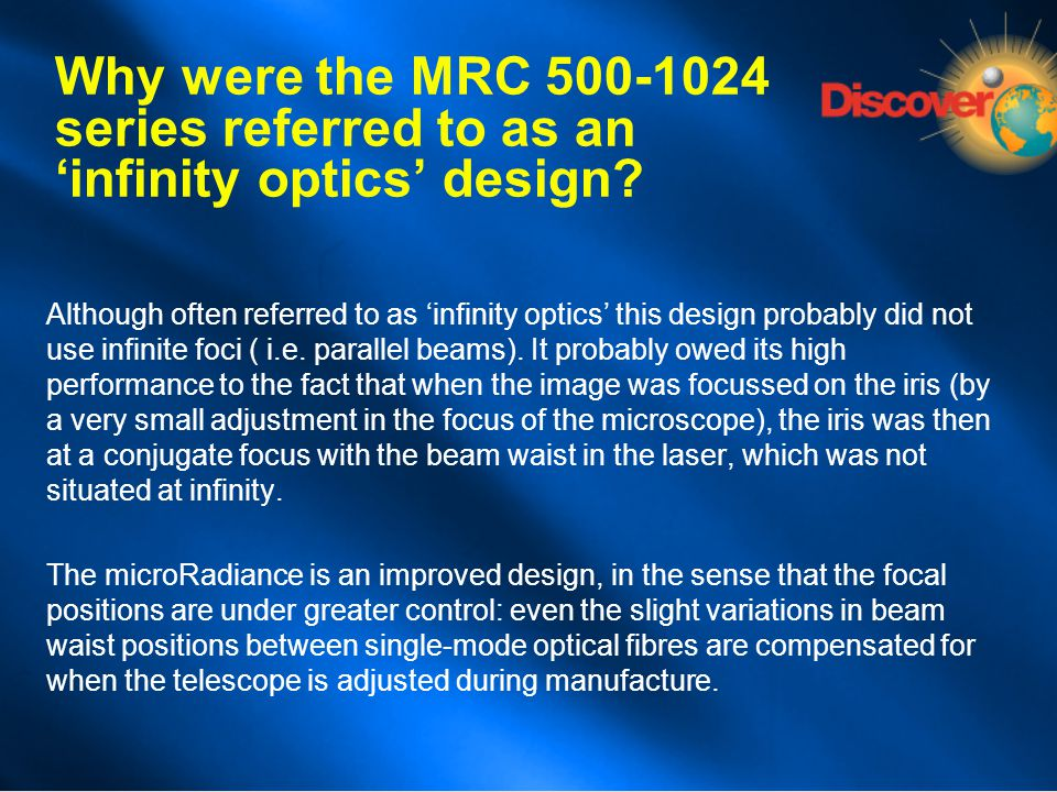 Why were the MRC 500-1024 series referred to as an 'infinity optics' design