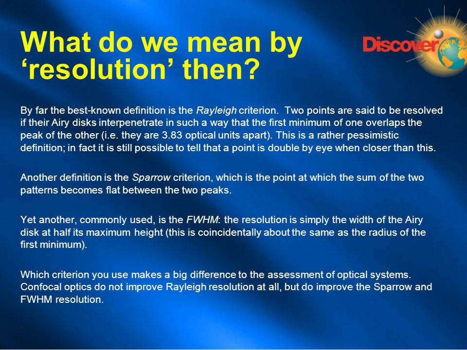What do we mean by 'resolution' then