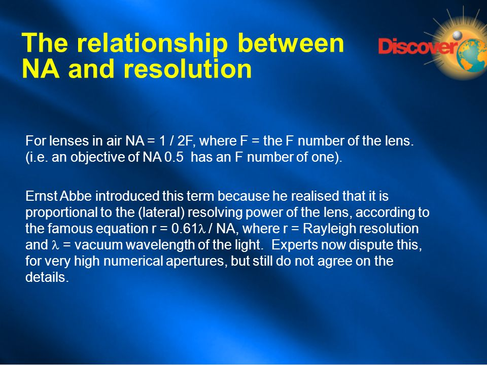 The relationship between NA and resolution