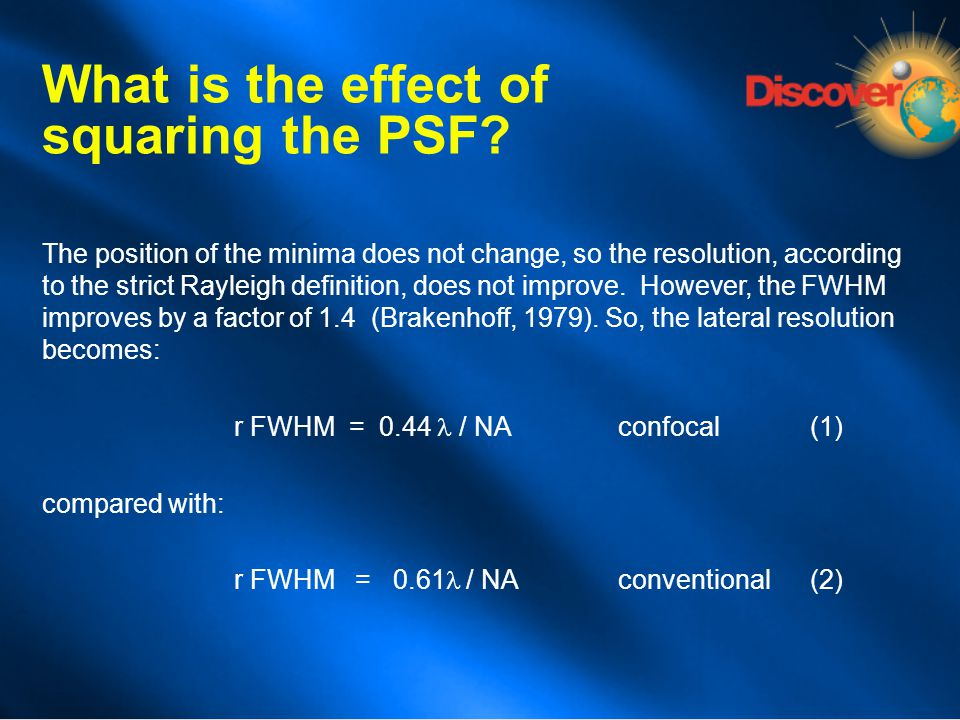 What is the effect of squaring the PSF