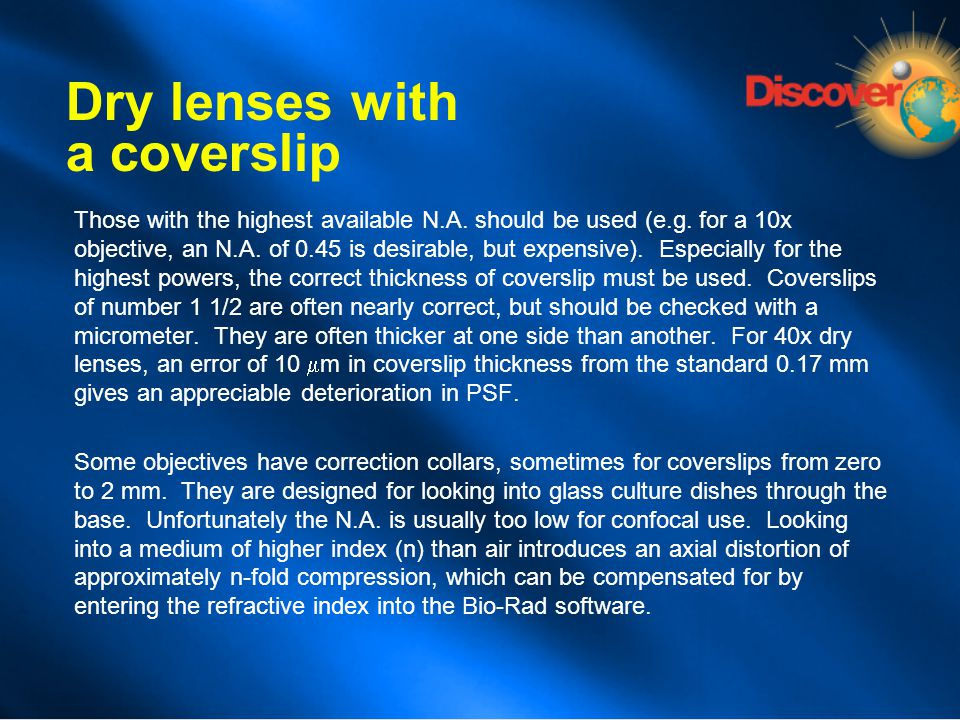 Dry lenses with a coverslip