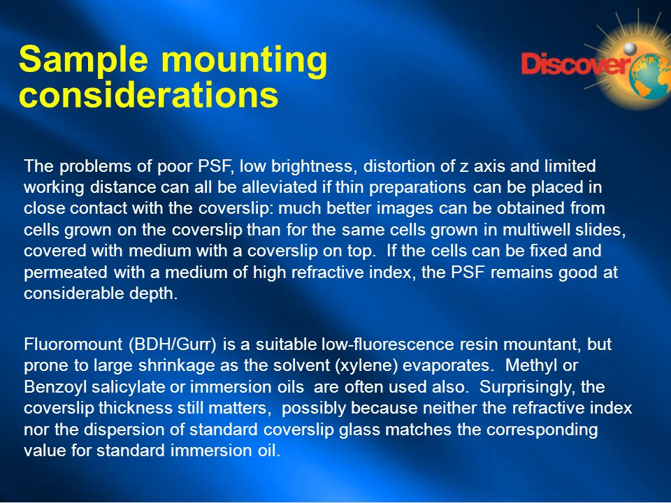 Sample mounting considerations