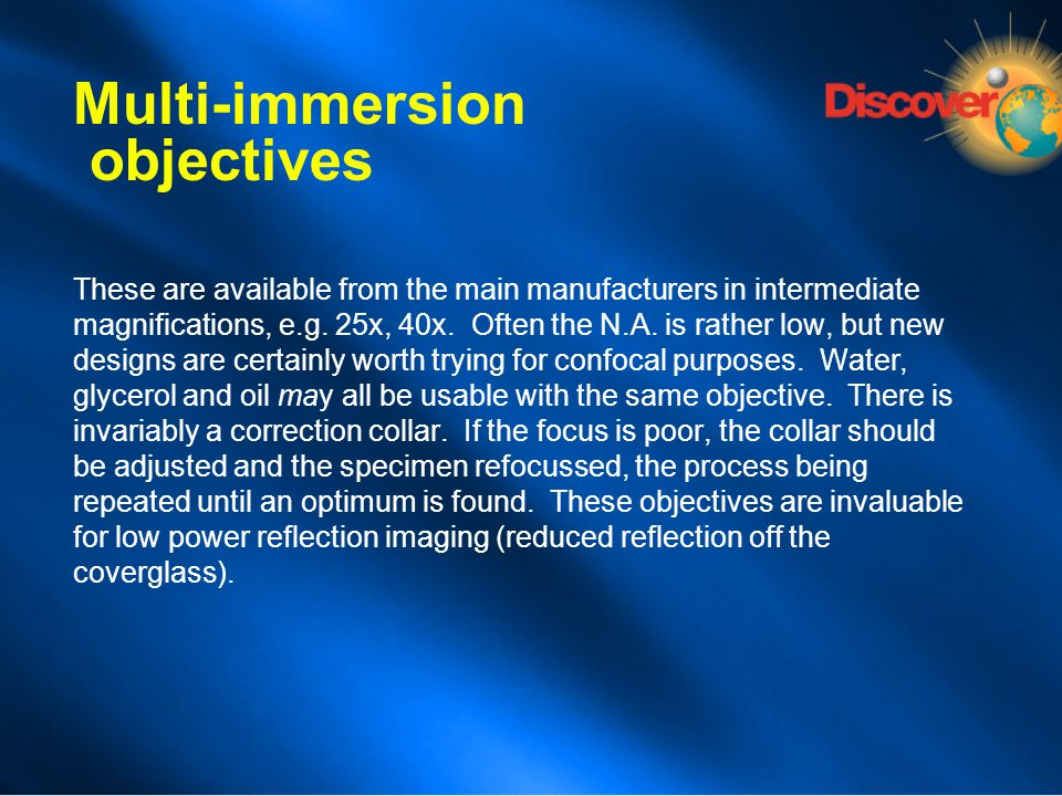 Multi-immersion objectives