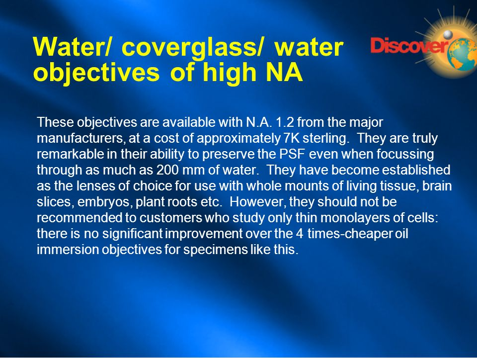 Water/ coverglass/ water objectives of high NA