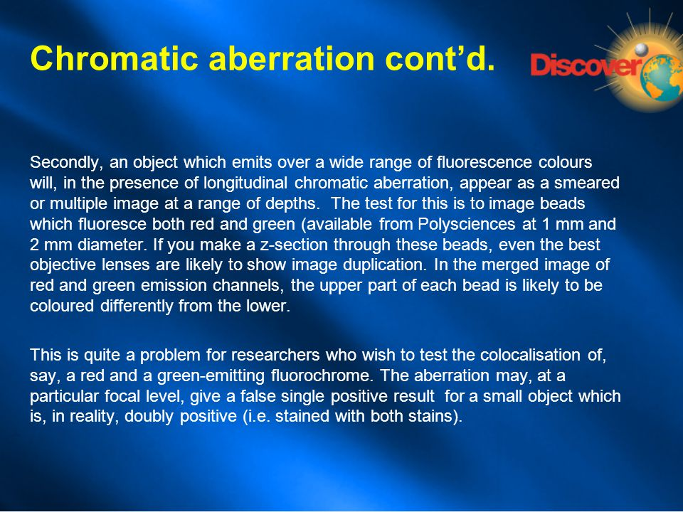 Chromatic aberration cont'd.