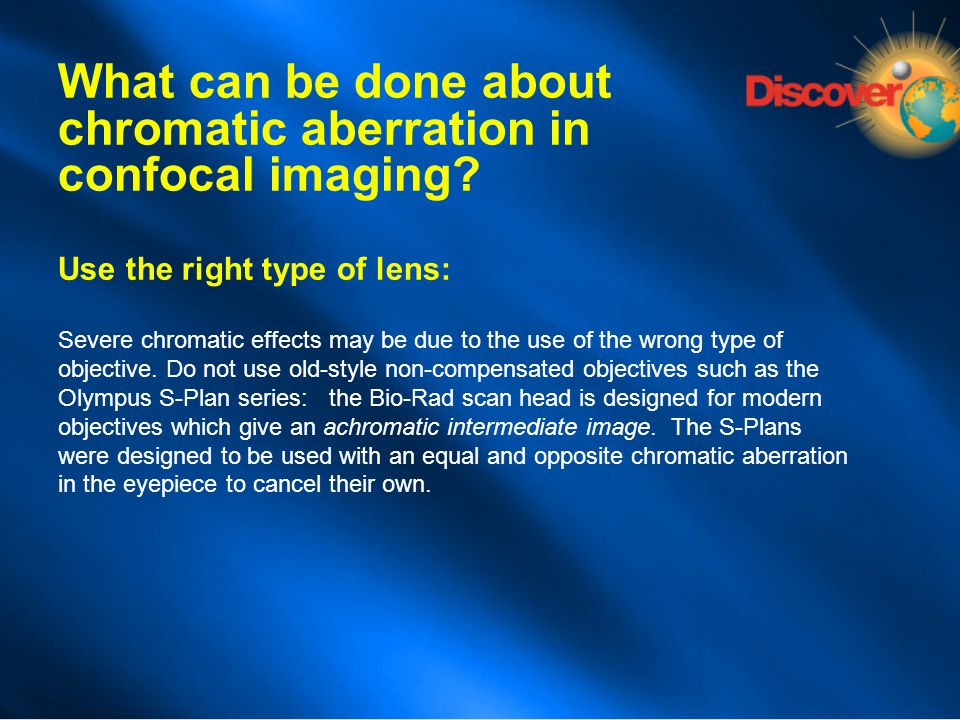 What can be done about chromatic aberration in confocal imaging