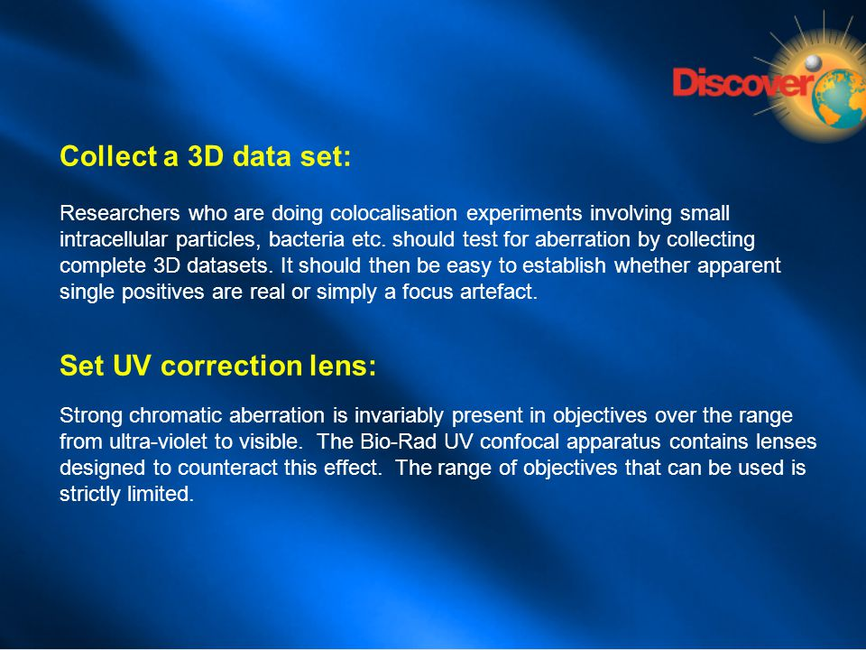 Set UV correction lens: