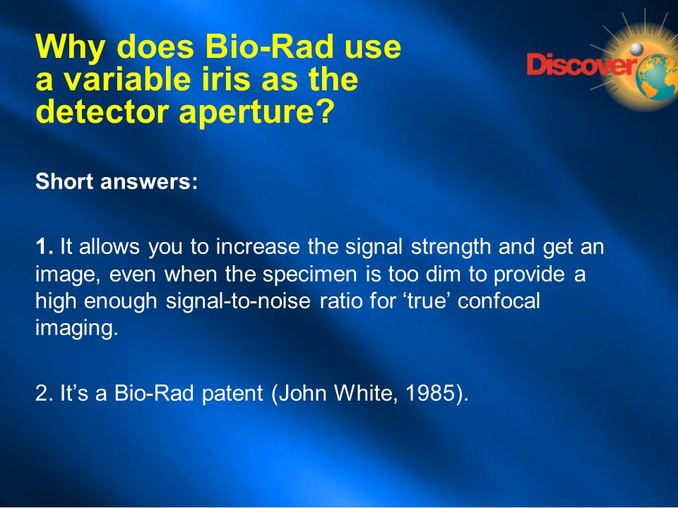 Why does Bio-Rad use a variable iris as the detector aperture