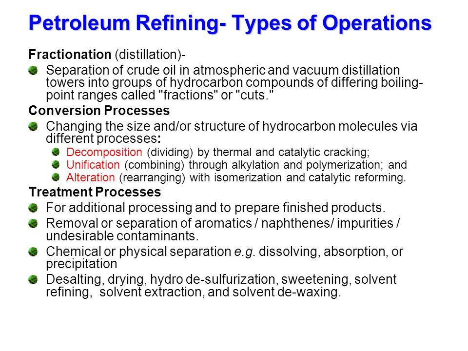 Petroleum Refining- Types of Operations
