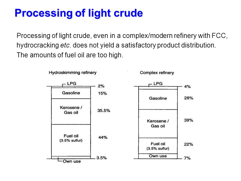 Processing of light crude