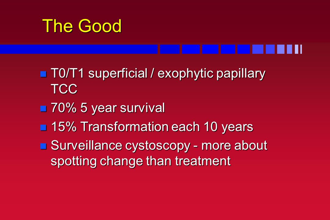 The Good T0/T1 superficial / exophytic papillary TCC