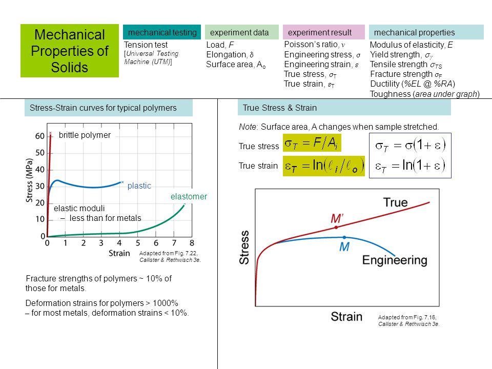 Stress-Strain curves for typical polymers