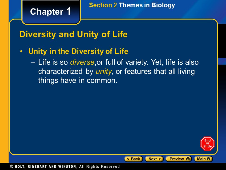 Diversity and Unity of Life