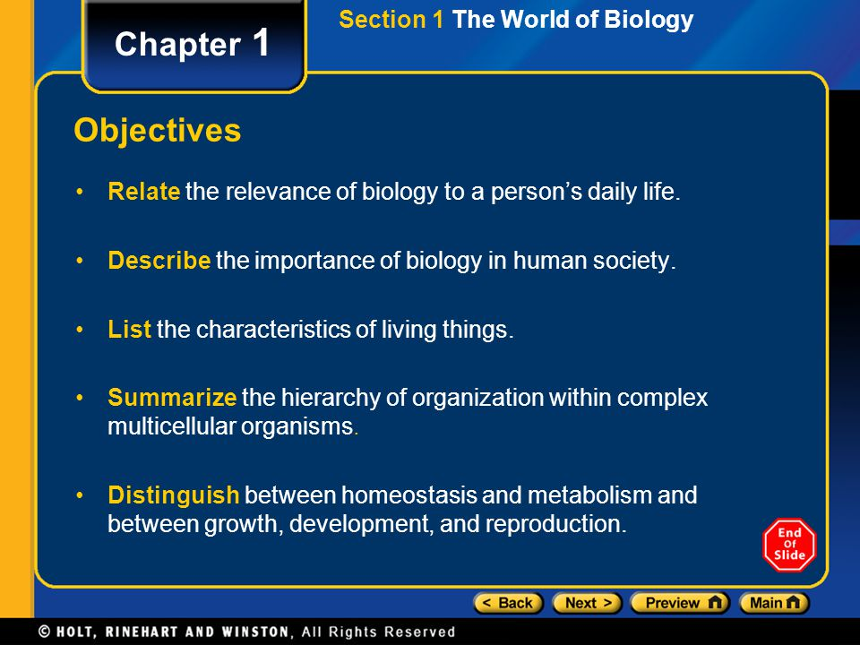 Chapter 1 Objectives Section 1 The World of Biology