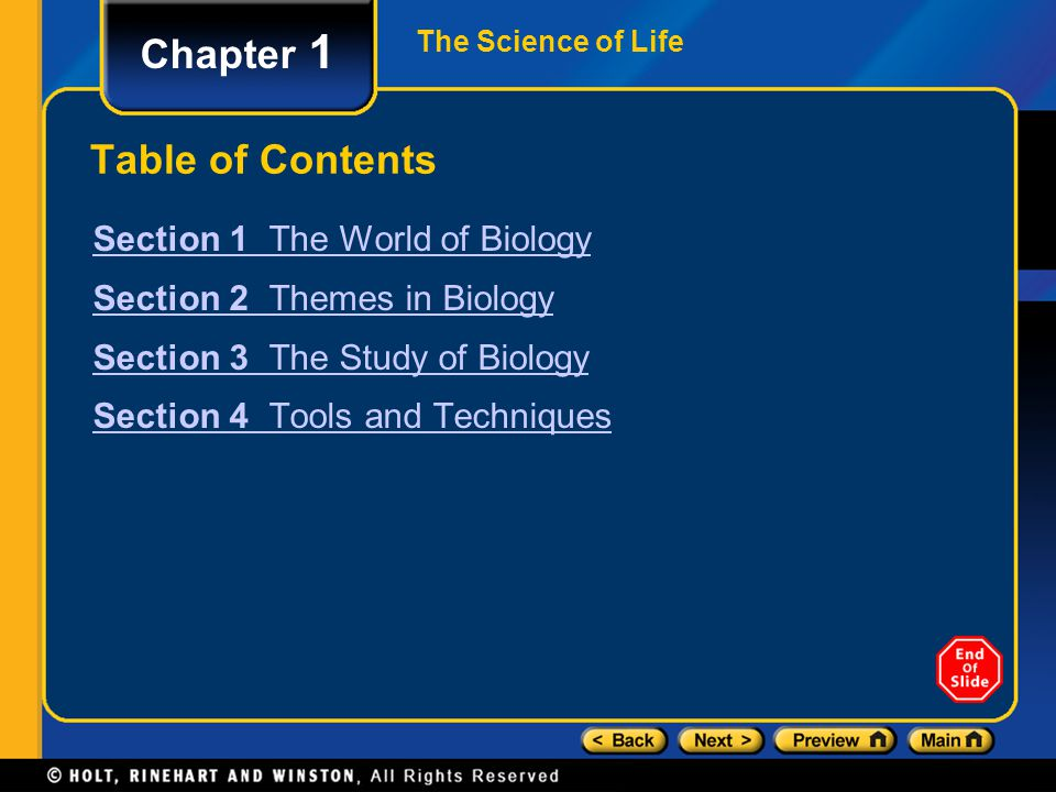 Chapter 1 Table of Contents Section 1 The World of Biology