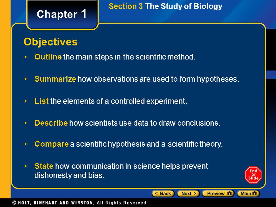 Chapter 1 Objectives Section 3 The Study of Biology