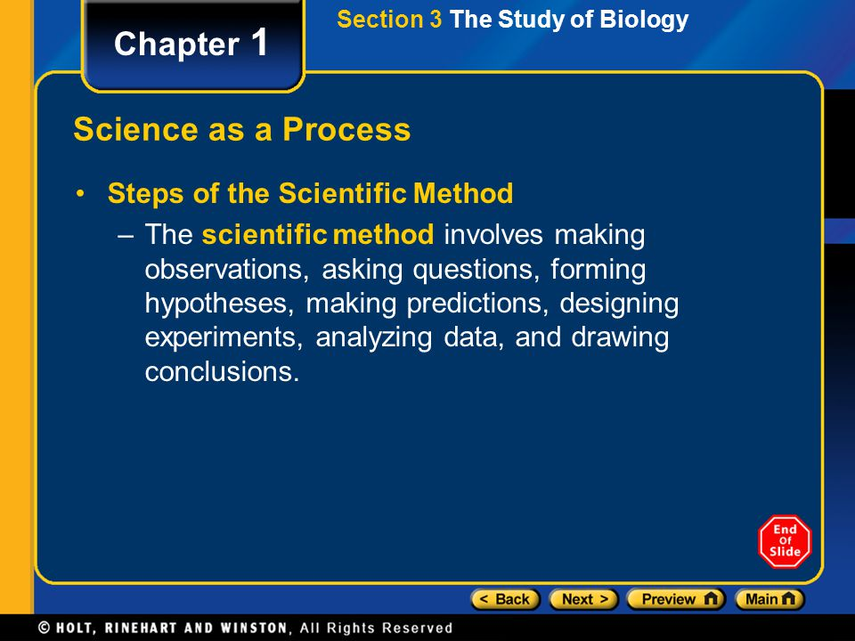 Chapter 1 Science as a Process Steps of the Scientific Method