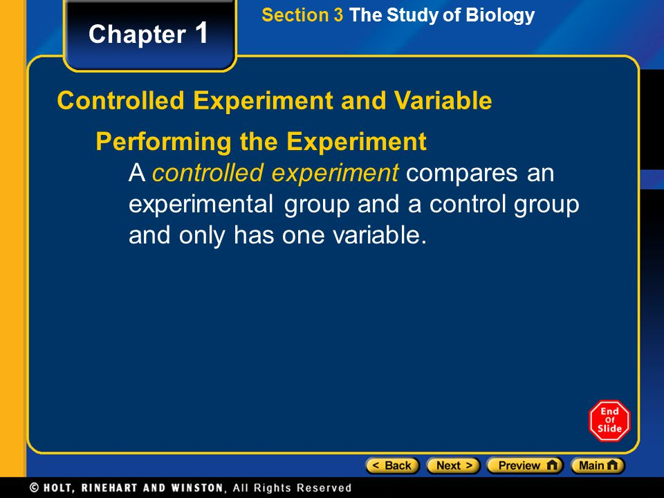 Controlled Experiment and Variable