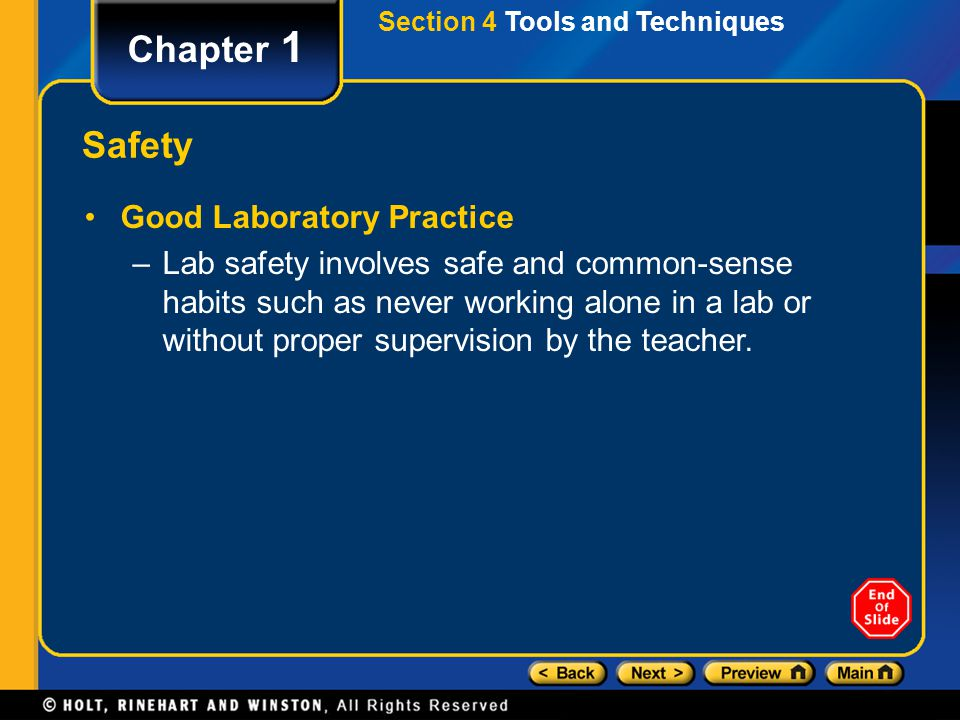 Chapter 1 Safety Good Laboratory Practice